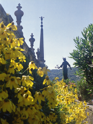 Isola Bella Flowers and Statue